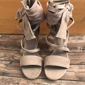 Jeffrey Campbell Destini suede strap sandals.